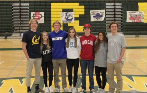 SRVHS senior athletes Mikey Williams, Rachel Speros, Brannan Haket, Colby Parker, Keaton Fox, Olivia Torres and Rory Birse sport college spirit wear at the National Letter of Intent Signing Day